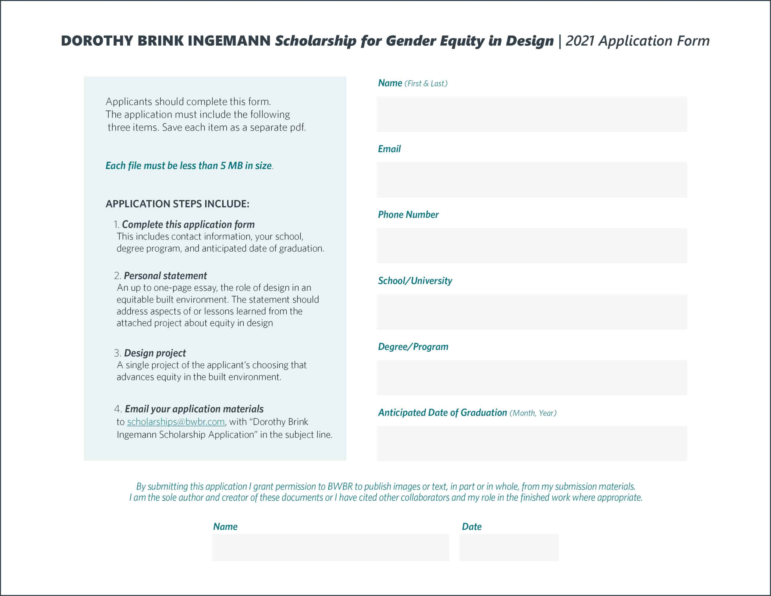 Dorothy Brink Ingemann Scholarship for Gender Equity in Design Application Form