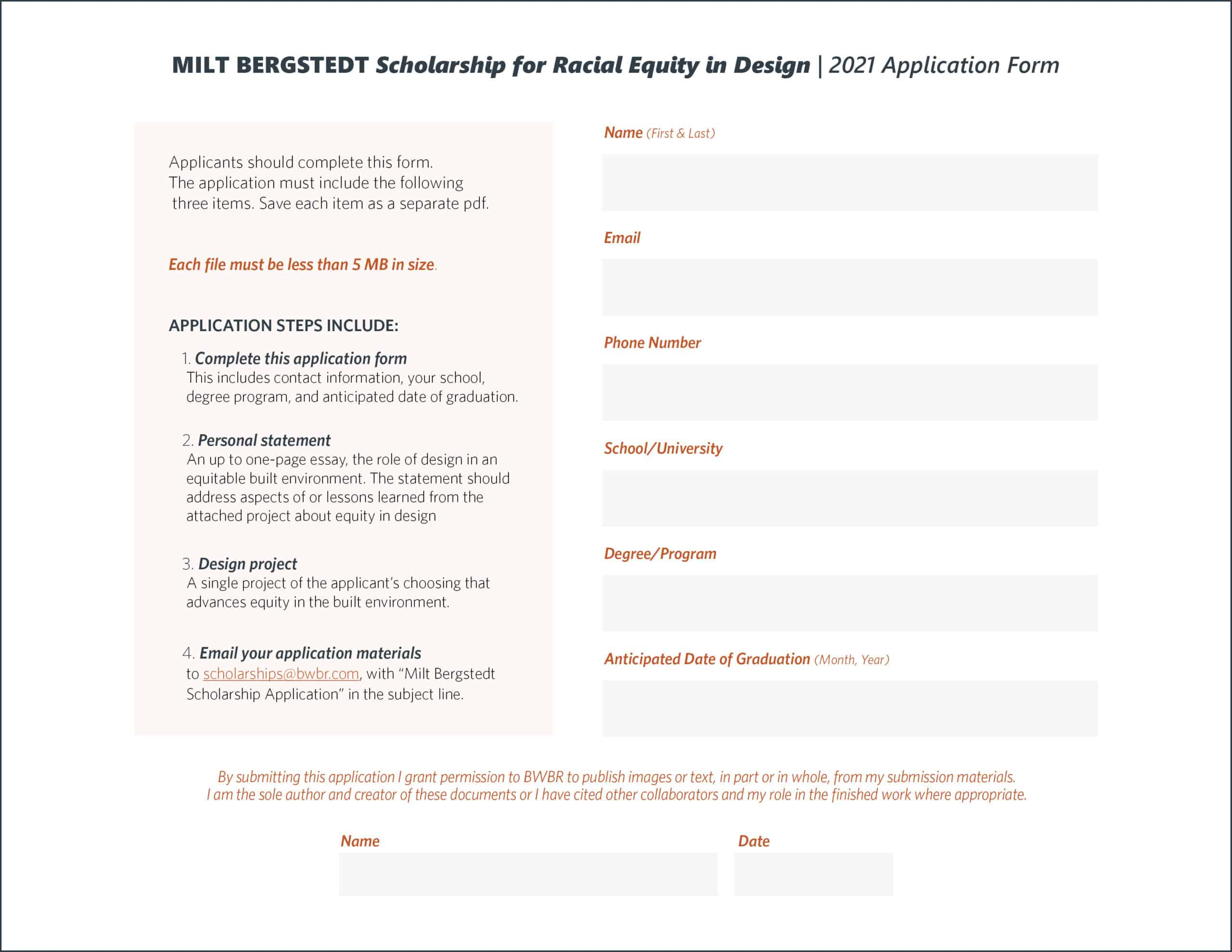 Milt Bergstedt Scholarship for Racial Equity in Design Application Form