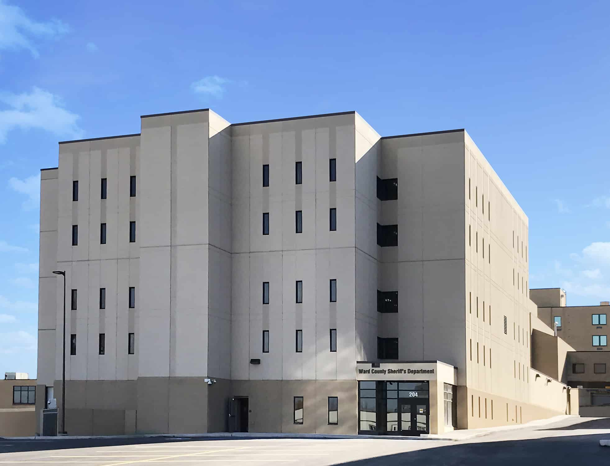 Exterior view of the Ward County Jail addition and entry.