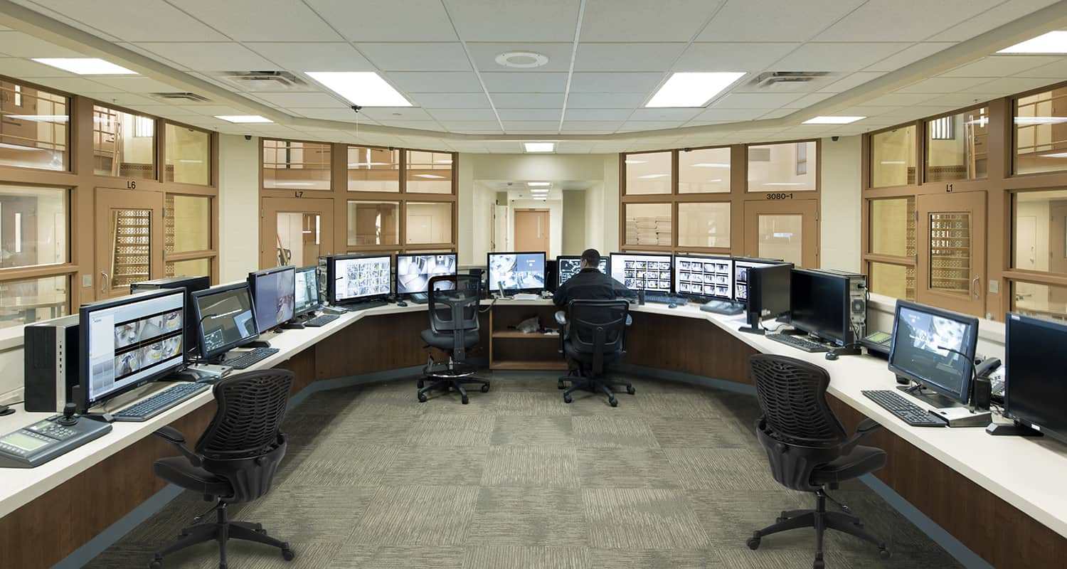 Secure staff observation and security station.