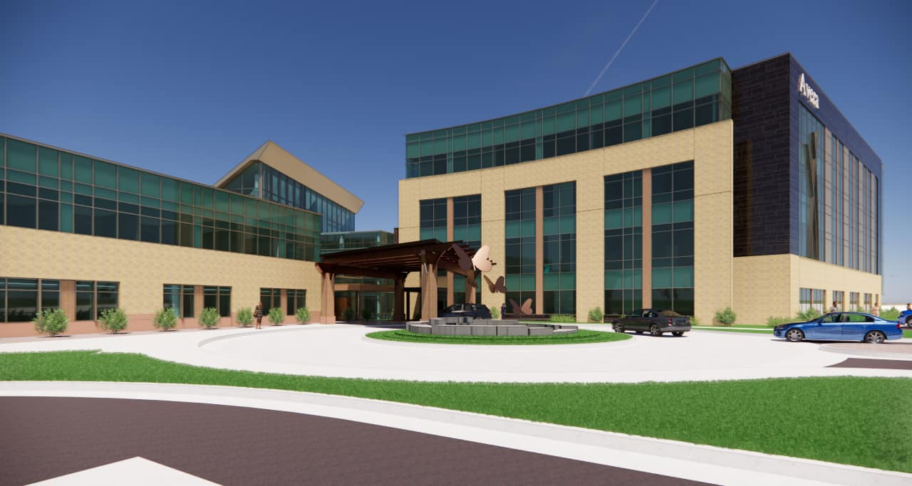 Rendered view of the behavioral health addition from the southwest.