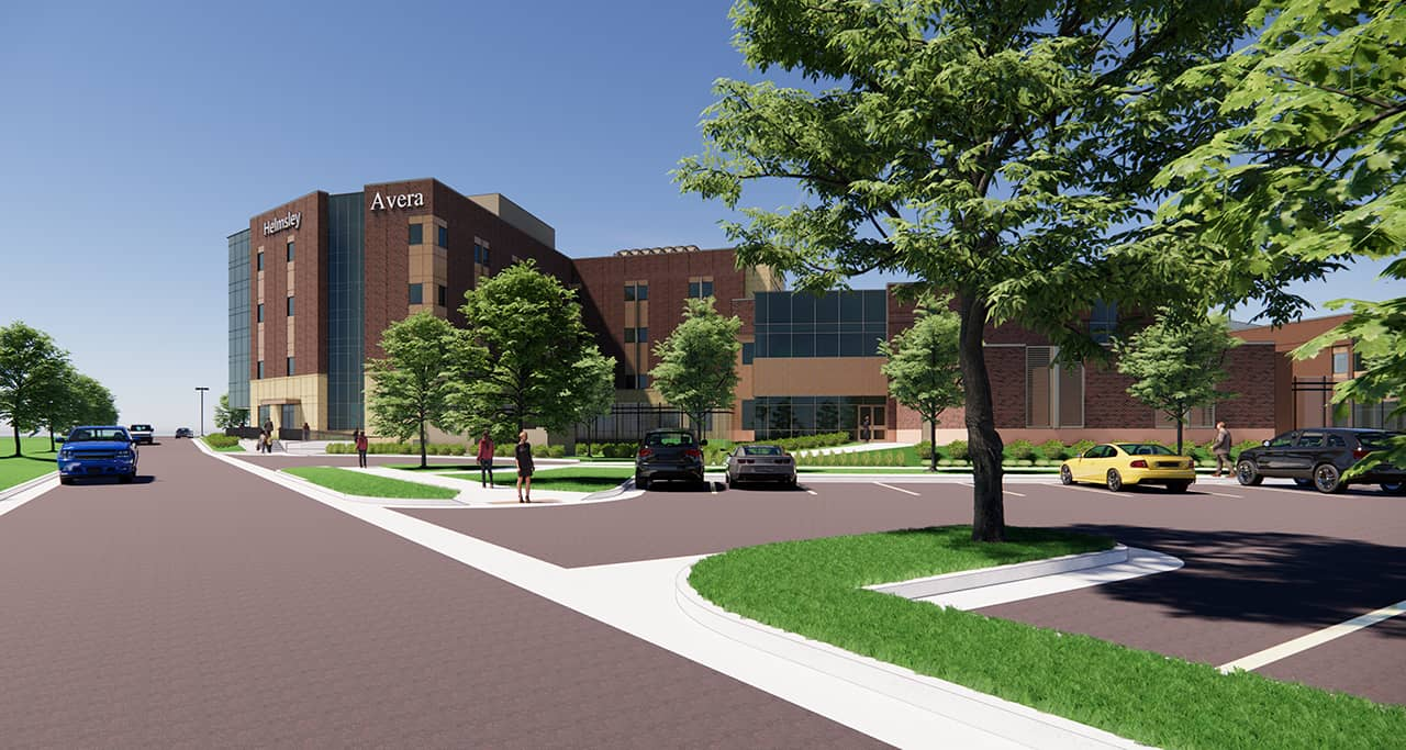 Rendered view of the behavioral health addition from the freeway.