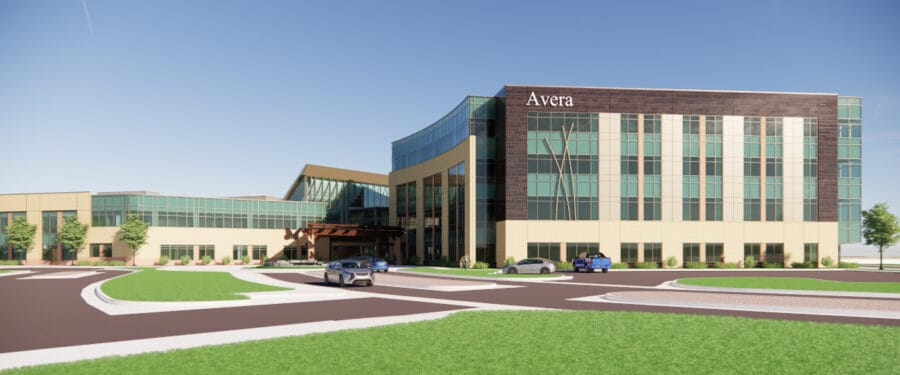 Rendered overall view of the behavioral health addition.