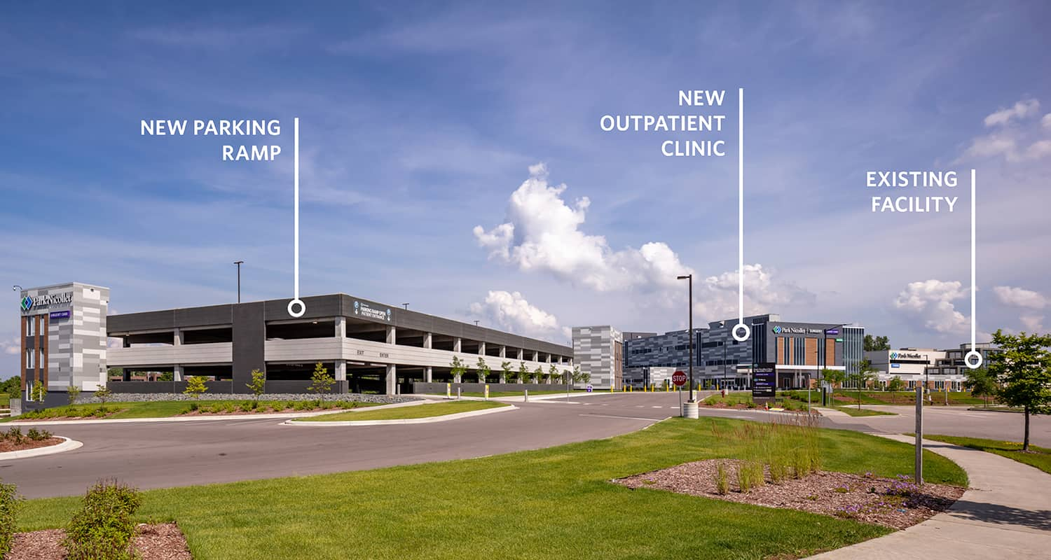 Labeled overall campus view of the parking ramp, clinic, and existing Burnsville facility.