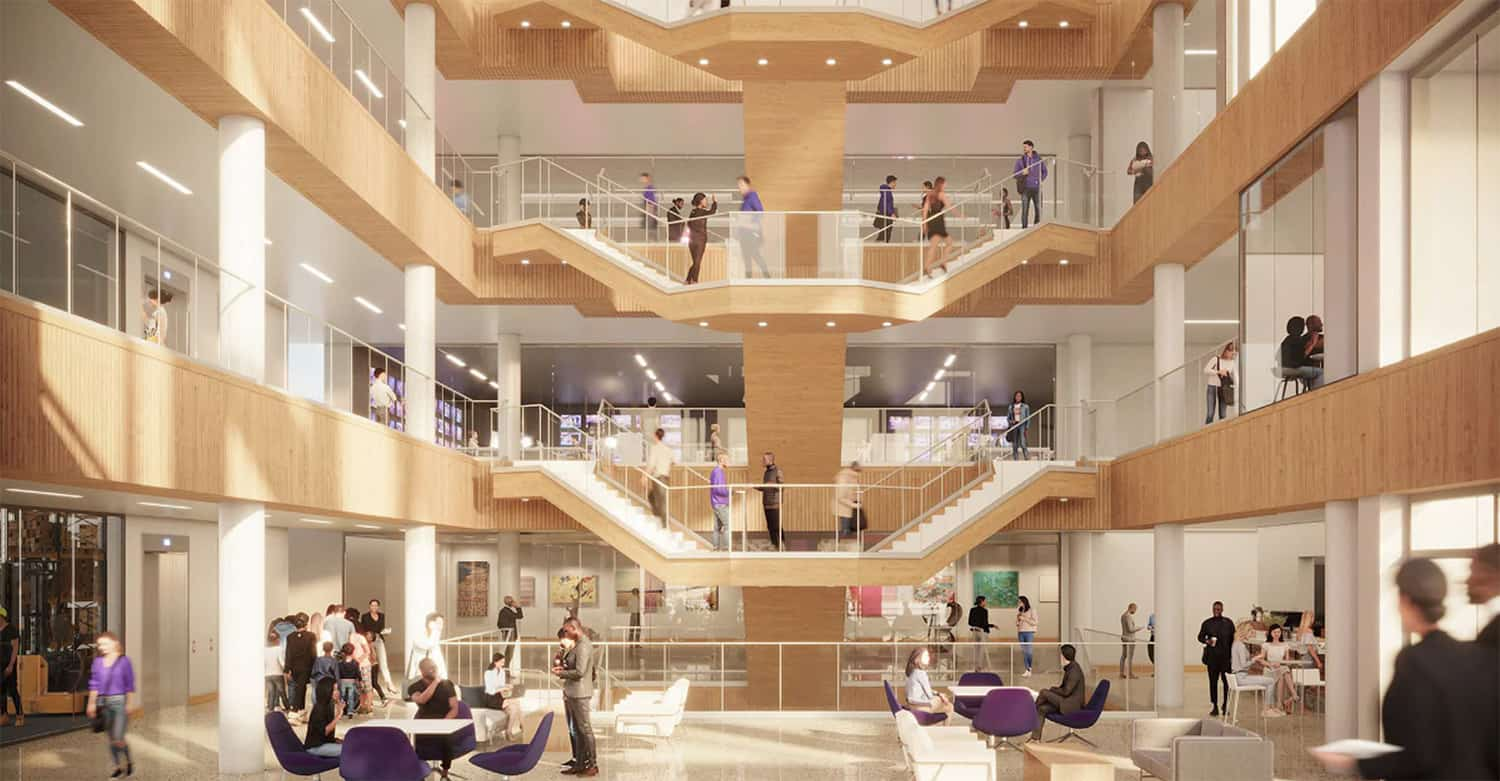 Rendering of the main atrium with branded furniture and open views to all floors.