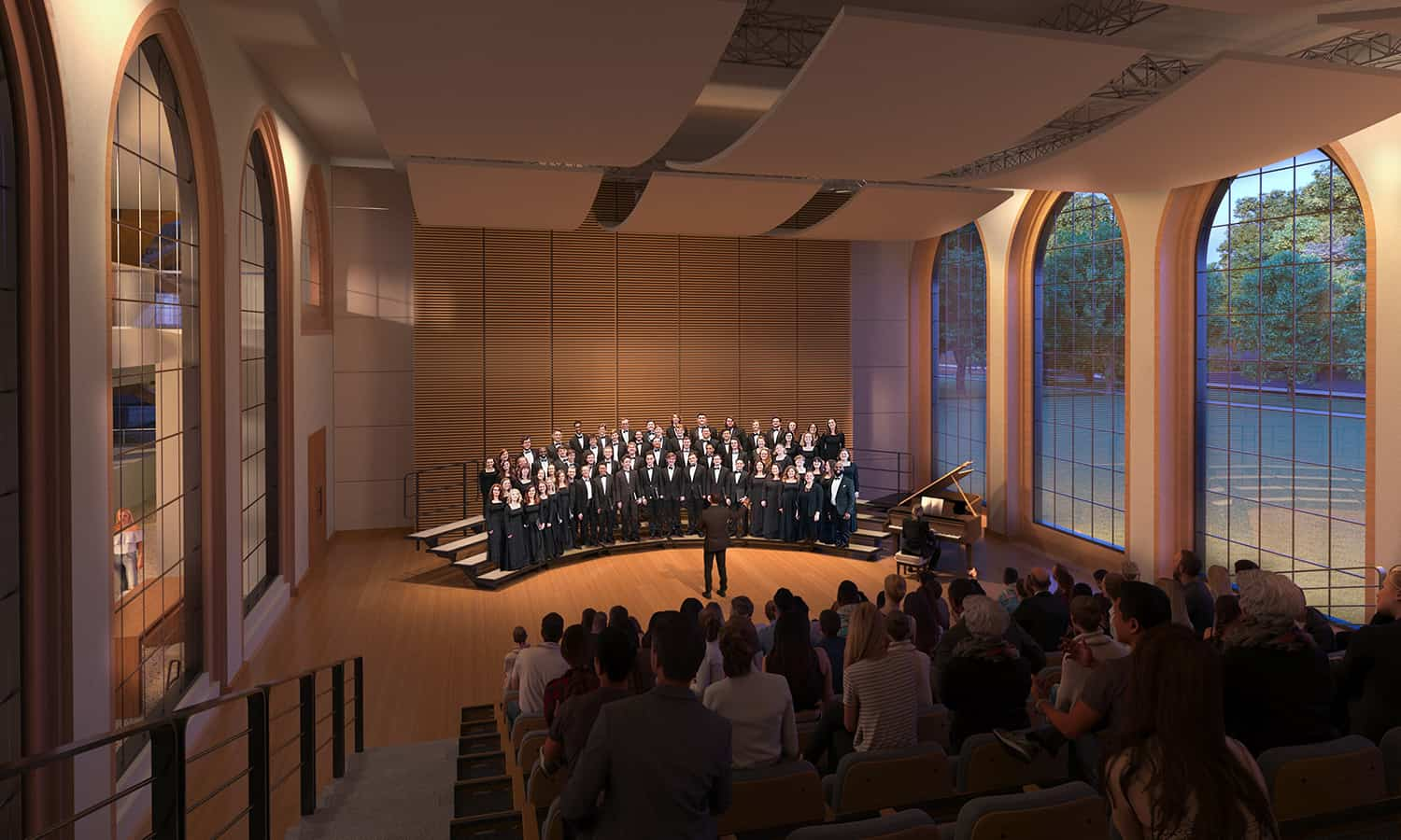 Rendering of the chorale hall with floor to ceiling arches that allow views into and out of the space.