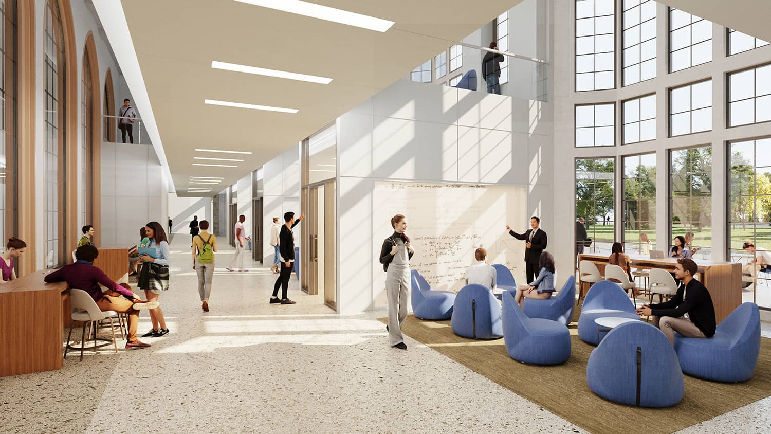 Rendering of one of the student collaboration spaces with access to daylight and a variety of furniture options.