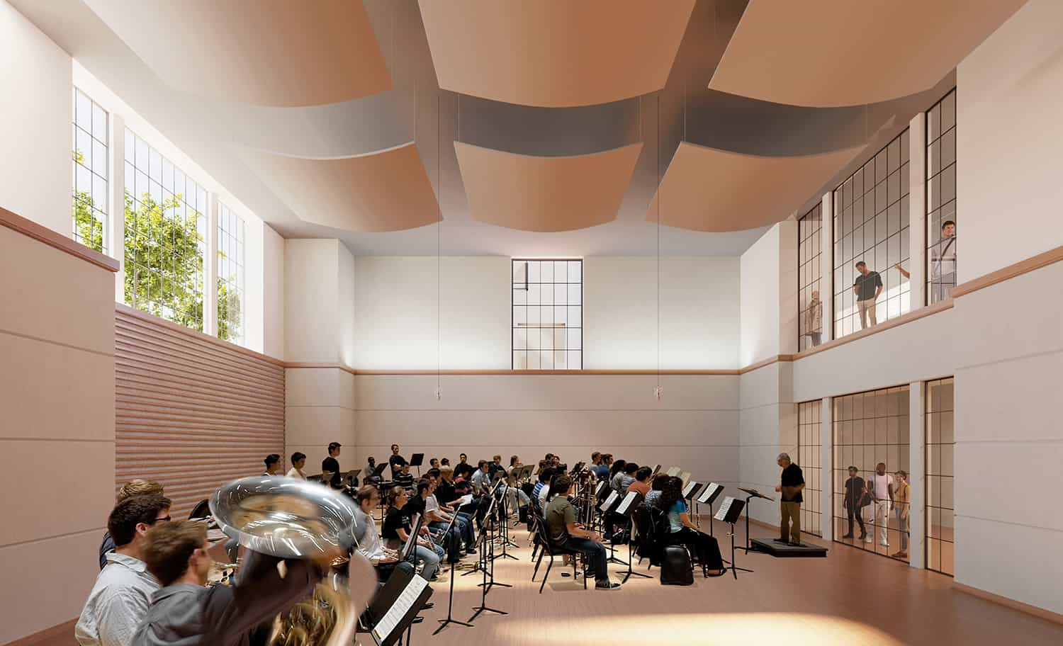 Rendering of the instrument rehearsal room with clerestory winows.
