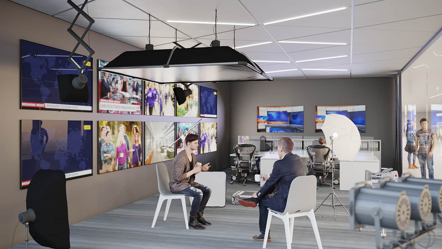 Rendering of a news media room for students to practice interviewing and running technology.