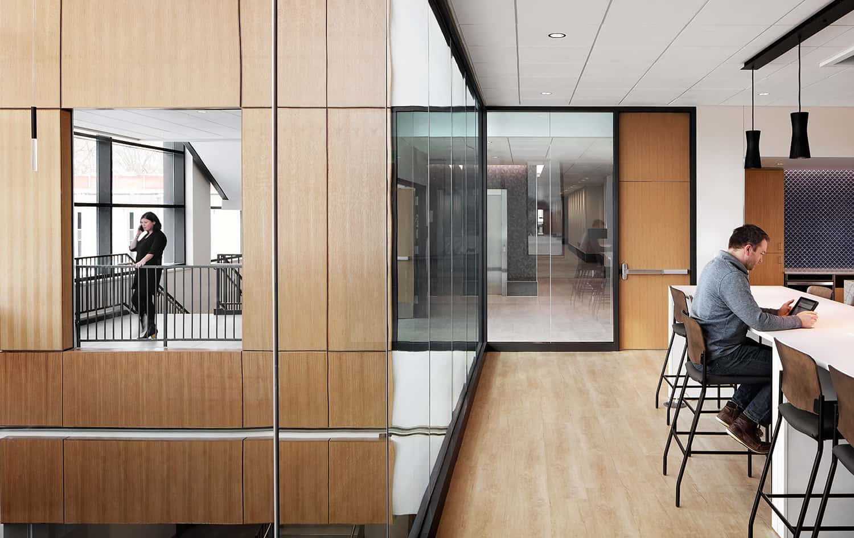 View through the work cafe into the atrium beyond.