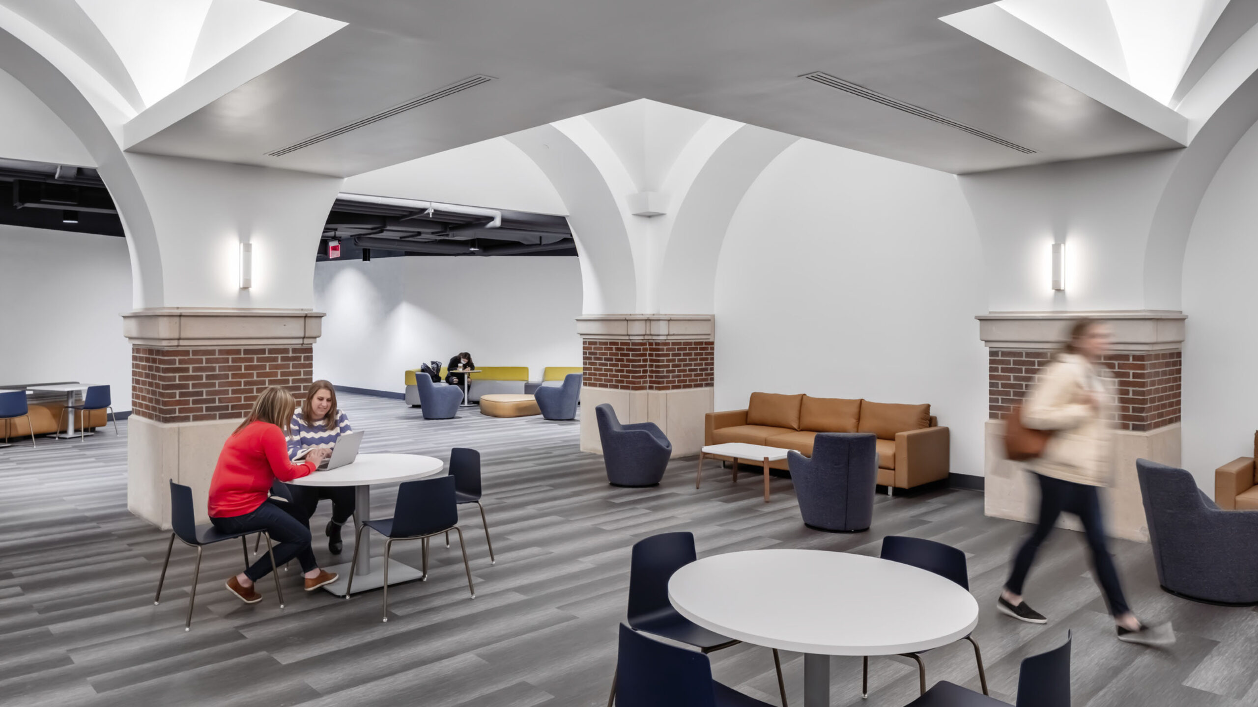 A circulation area with study spaces.