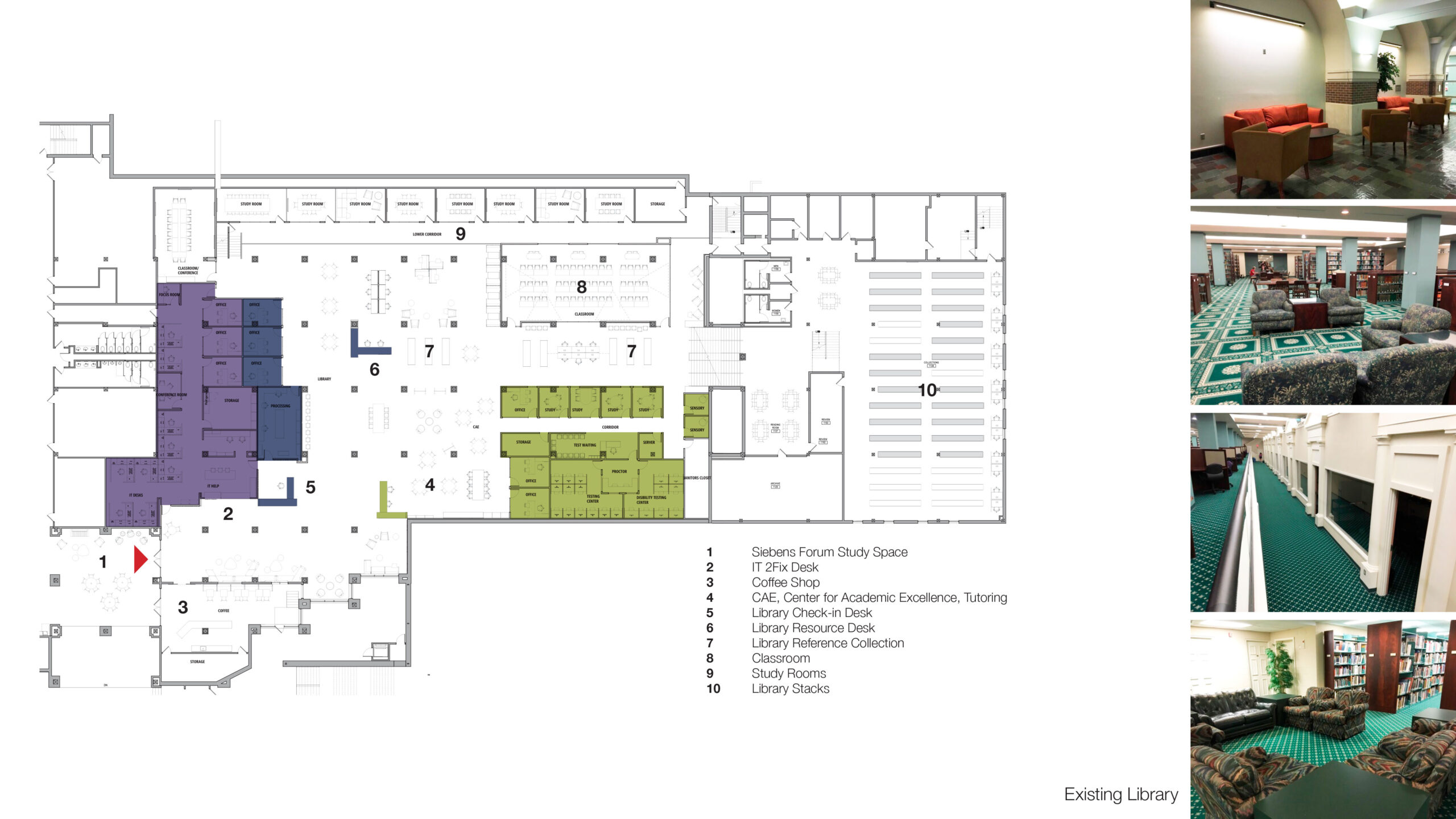 Library renovation floor plan with before pictures.