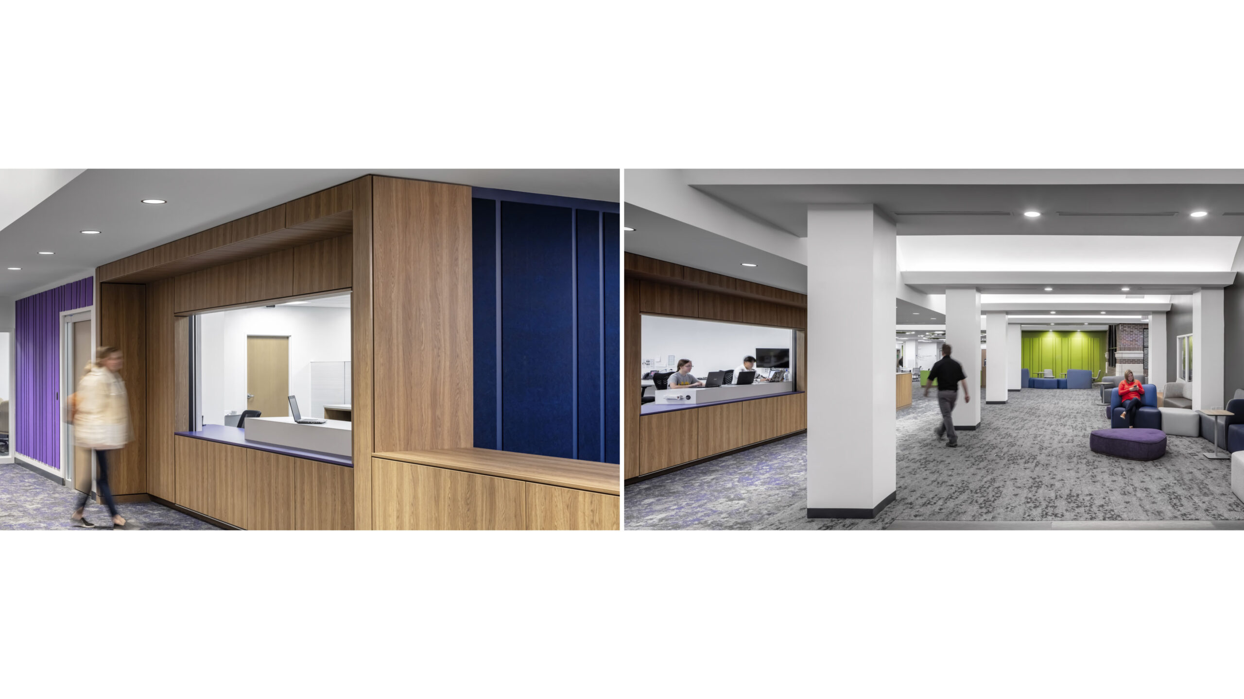 Help desk with study/waiting furniture nearby.