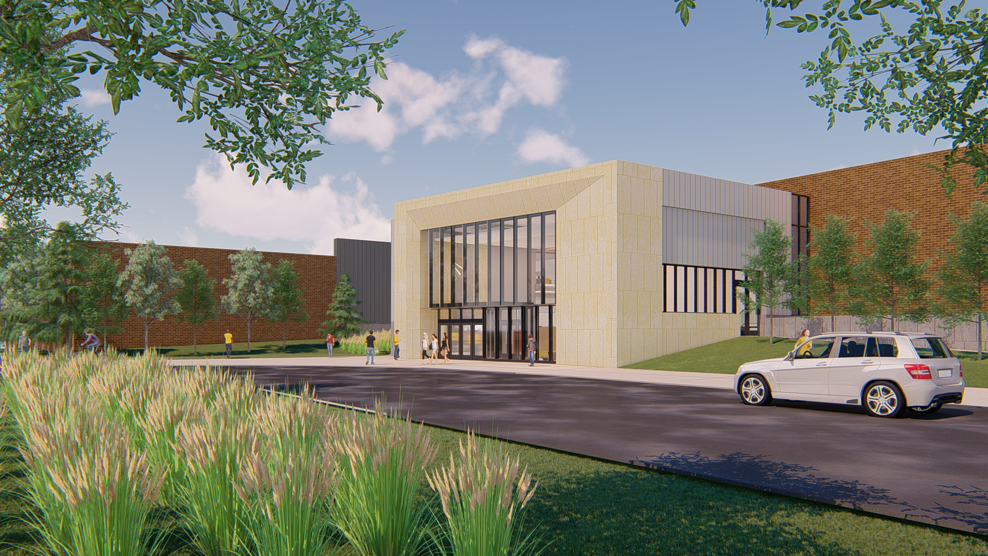 Exterior rendering of the Lund Center's entry.