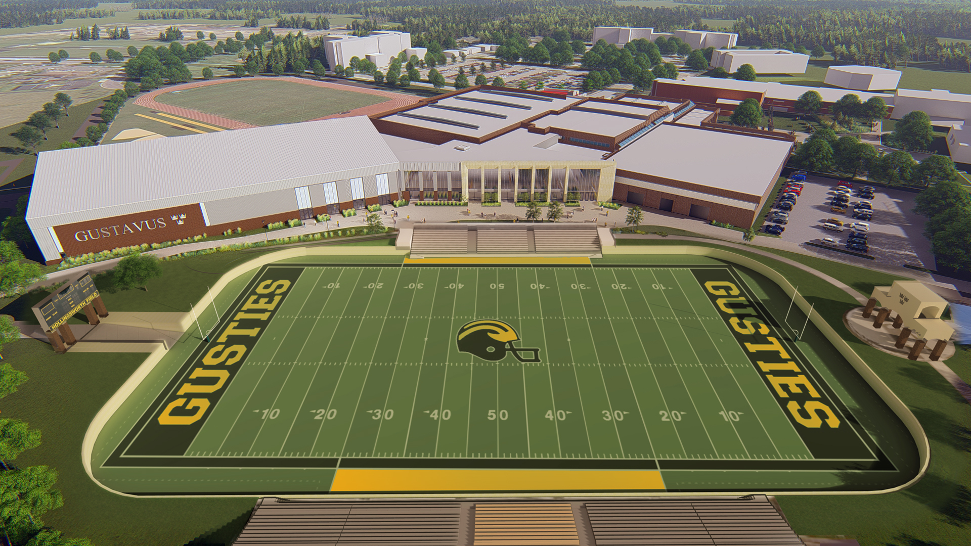 Aerial rendering of the Gustavus Adolphus football field and stadium near the Lund Center.