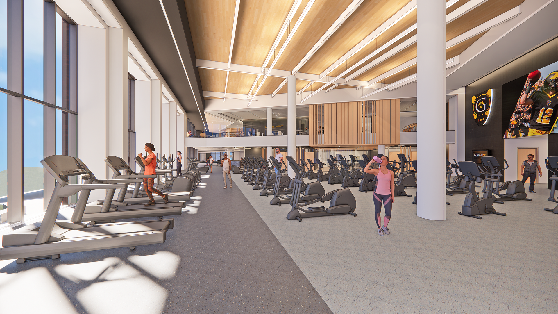 Rendering of the new cardio and field house with expansive windows and wood ceiling.