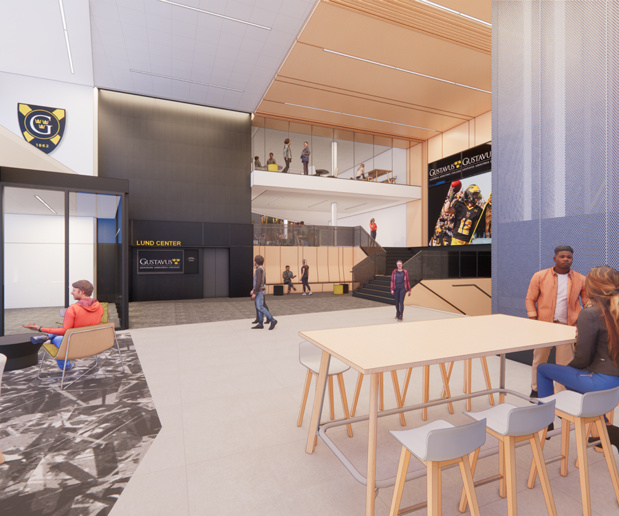 Rendering of the Lund Center's south entry with drop-in workstations.