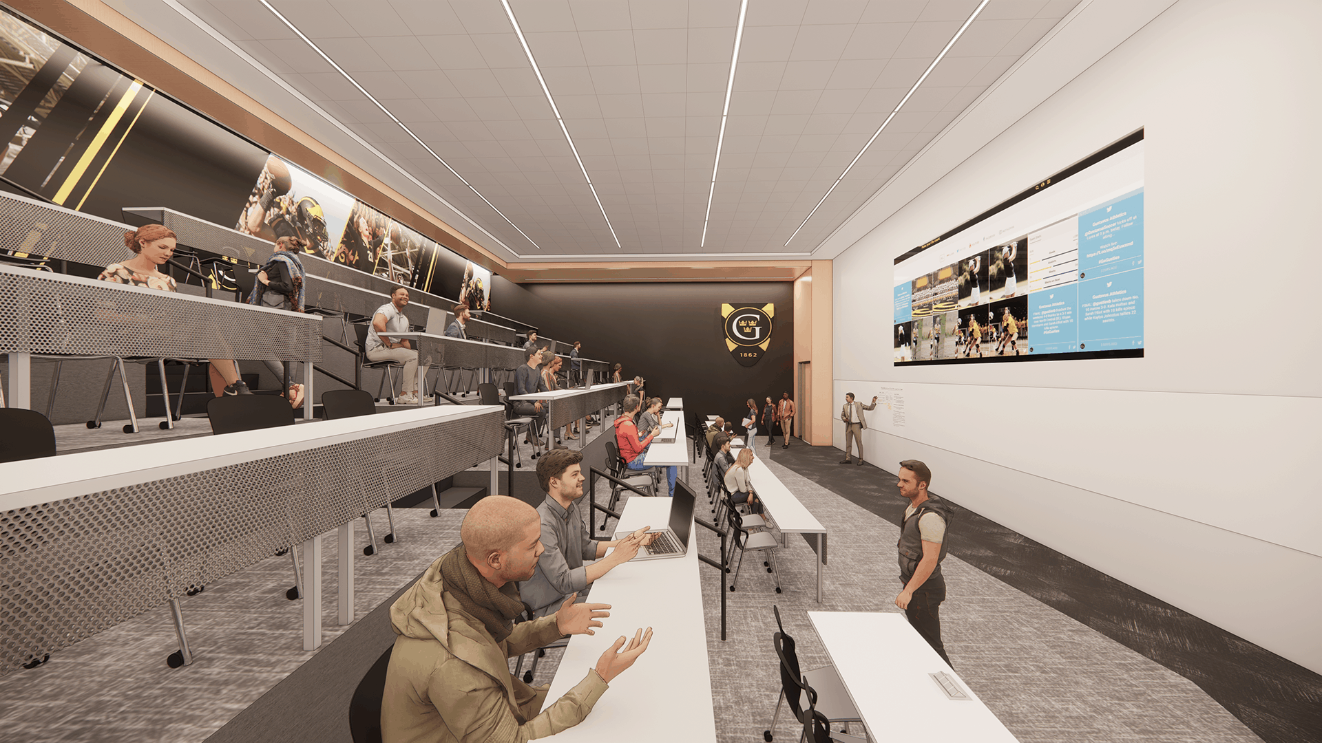 Rendering of the Lund Center's lecture room with school branding elements.