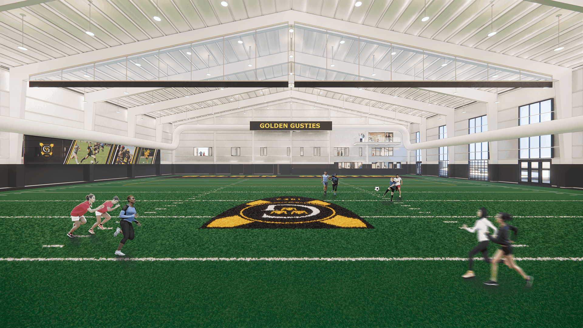 Rendering of the new fieldhouse with branded field elements.