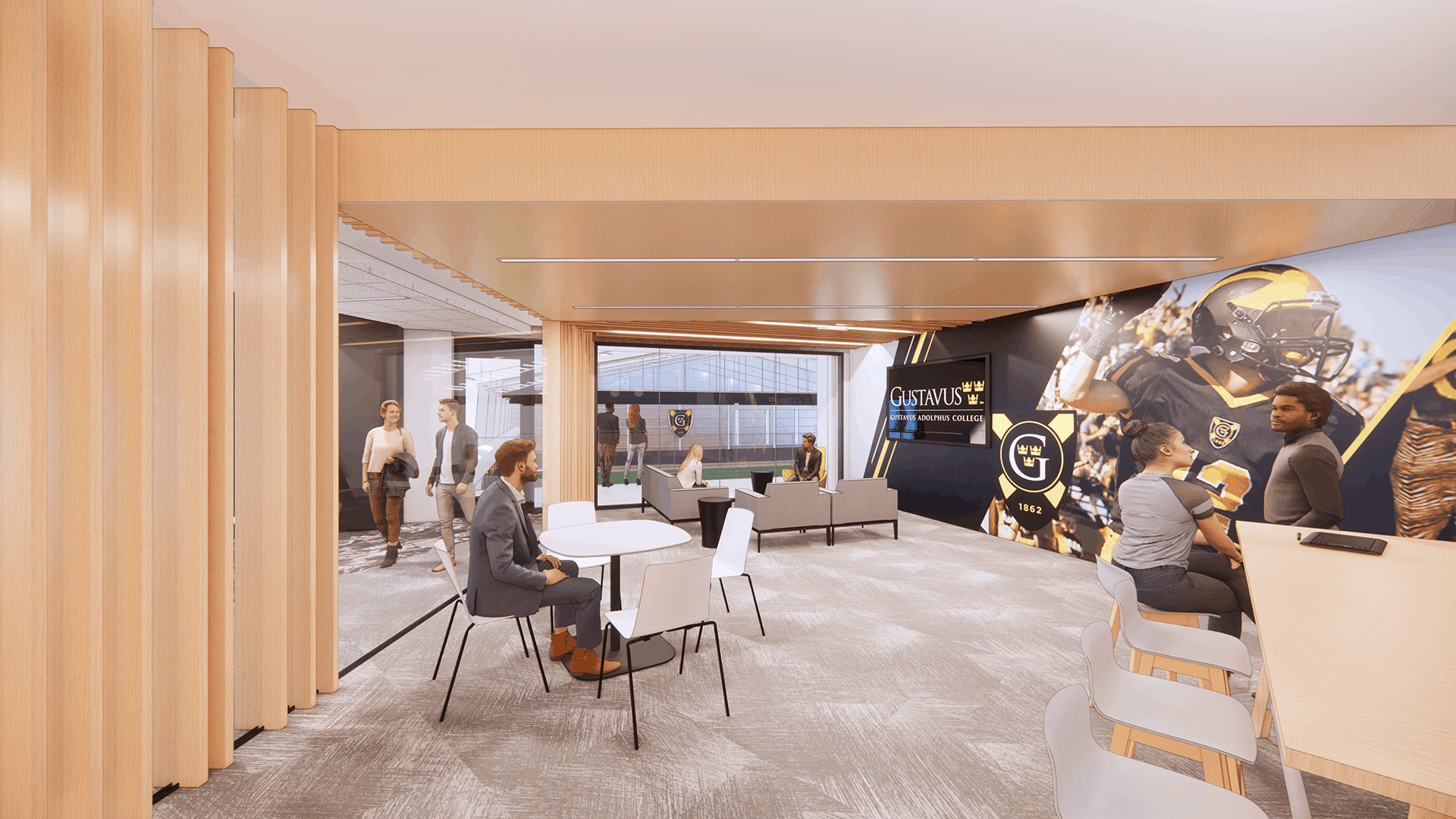 Rendering of the Lund Center's recruiting office with branded wall graphics.
