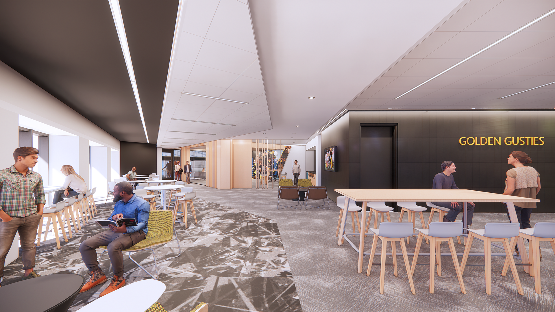 Rendering of a student lounge to support students and athletes.