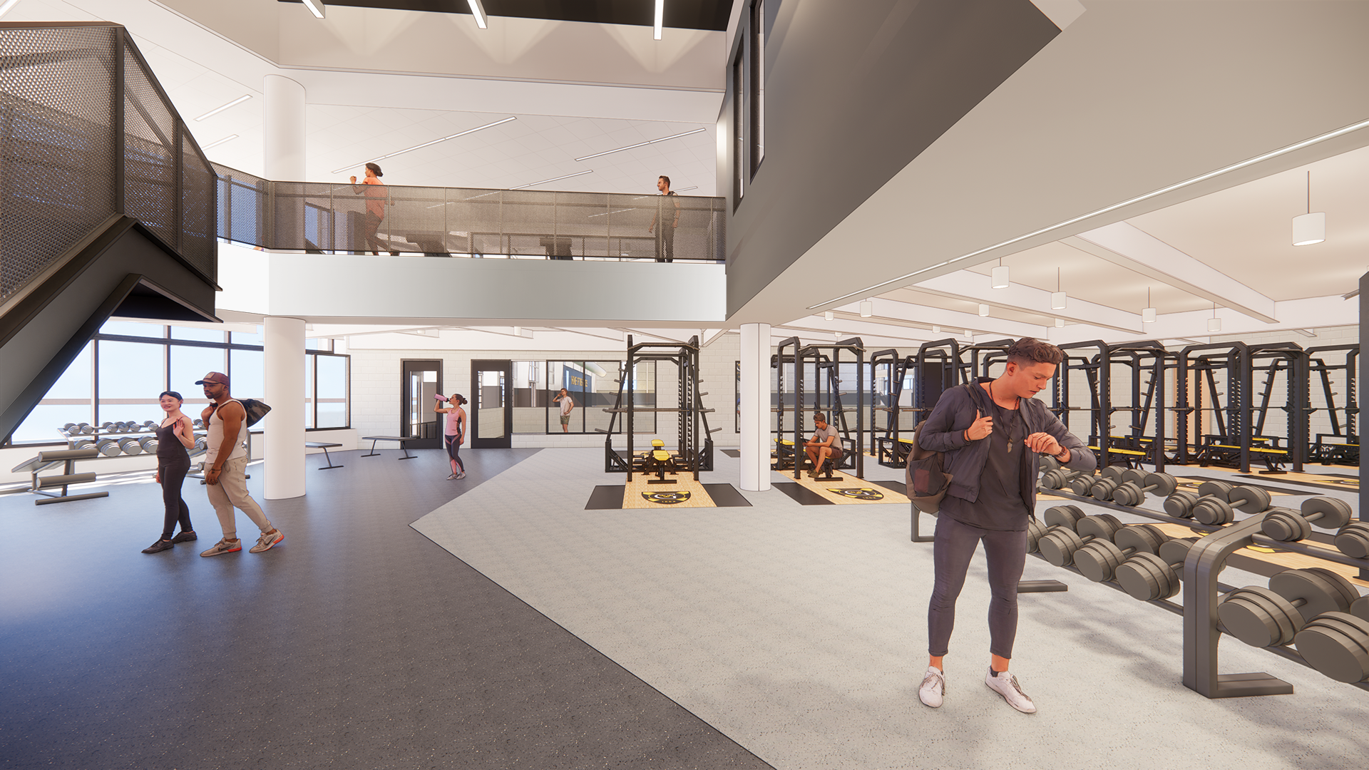 Rendering of a double-height weights facility.