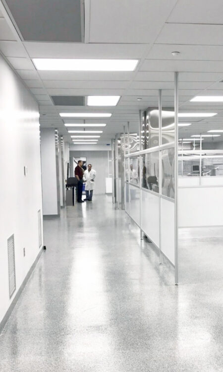 A corridor that runs adjacently to cleanroom labs.